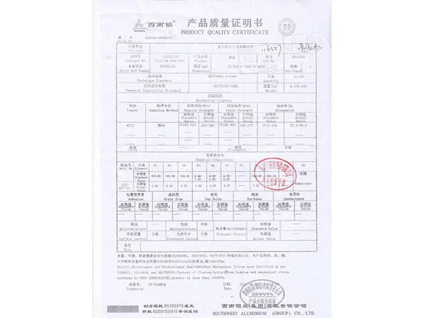 Certificado de calidad de aluminio